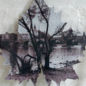 Prágai látkép, Művészet, Fotográfia, Fotó, grafika, rajz, illusztráció, Kanadai juhar levelére készített kép a prágai Károly-hídról. Egyetlen darab készült belőle. A negatí..., Meska
