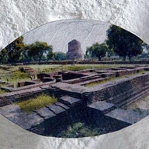 Dhamek Stupa, Varanasi, India, 2009/2019, fügefa levélen, kb 5x10 cm, 20x20 cm keretben, Művészet, Fotográfia, Fotó, grafika, rajz, illusztráció, Az Ashoka által építtetett ősrégi buddhista zarándokhelyen, az indiai Varanasiban 2009-ben készült f..., Meska