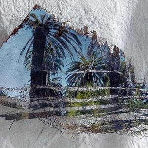 Lisszabon, Jardim Botanico Tropical, 2015/2019, pálmakéreg alapanyagon, kb.15x20cm, 30x30cm keretben, Művészet, Fotográfia, Fotó, grafika, rajz, illusztráció, A kép Lisszabonban, a Jardim Botanico Tropcal nevű kerben készült, 2015-ös felvételt 2019-ben készít..., Meska