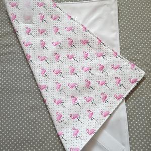 Szendvicsbatyu (pink flamingós), Otthon & lakás, Konyhafelszerelés, 30 x 30 cm textilszalvéta, mely kívülről pamutvászon, belülről élelmiszerbiztos vízálló anyagból kés..., Meska