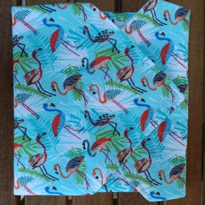 Szendvicsbatyu (kék flamingós), Otthon & lakás, NoWaste, Konyhafelszerelés, Textilek, 30 x 30 cm textilszalvéta, mely kívülről pamutvászon, belülről vízálló anyagból készül. Tépőzárral z..., Meska