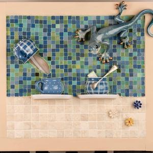 Kék zöld színátmenetes gekkó bögre kép - 3D mozaik kaméleon nagy falikép dekoráció, Otthon & lakás, Dekoráció, Kép, Lakberendezés, Falikép, A kép kézműves technikával készült.  mérete: 50 cm x 45 cm  A minőségi mázas kerámia minimozaik, ach..., Meska