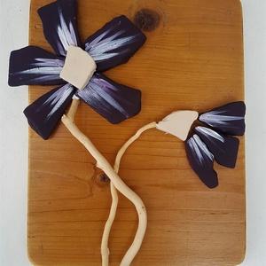 Lila padlizsánlila orchidea magnólia organikus természetes kő kép - 3D virág falikép dekoráció, Dekoráció, Otthon & lakás, Kép, Famegmunkálás, Mozaik, A kép kézműves technikával készült. \nmérete: 20 cm x 26 cm\n\nRusztikus, csiszolt, kezelt és lakkozott..., Meska