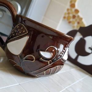 Barna csokibarna beige bézs madár mozaik tálca kávé tea kínáló (Hamupupocska) - Meska.hu
