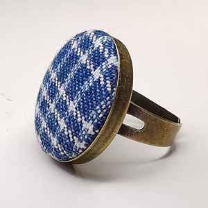 Farmer sötétkék fehér rácsos kék fehér mono gyűrű (Hamupupocska) - Meska.hu