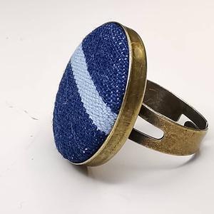 Farmer sötétkék világoskék vízszintes csíkos mono gyűrű (Hamupupocska) - Meska.hu