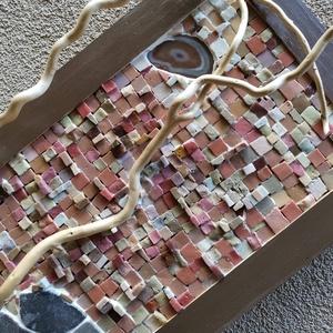 Marsi tájkép - barna térbeli mozaik kép, 3D mozaik falikép dekoráció, Otthon & lakás, Dekoráció, Kép, Lakberendezés, Falikép, A kép kézműves technikával készült.  mérete: 60 cm x 30 cm   A minőségi smalti és gyöngy mozaik mell..., Meska