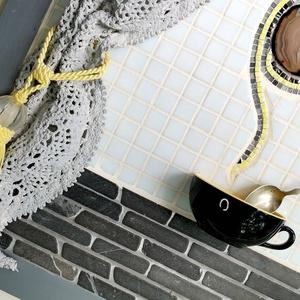 Szürke fekete sárga 3D mozaik falikép dekoráció - reggeli  kávé tea kép  (Hamupupocska) - Meska.hu