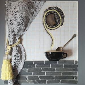 Szürke fekete sárga 3D mozaik falikép dekoráció - reggeli  kávé tea kép , Otthon & lakás, Dekoráció, Kép, Férfiaknak, Legénylakás, Famegmunkálás, Mozaik, A kép kézműves technikával készült. \nmérete: 50 cm x 45 cm\n\nA minőségi üvegmozaikok, achát szelet és..., Meska
