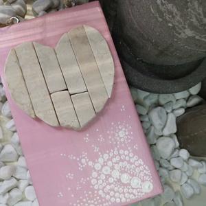 Rózsaszín fehér vintage mozaik szív  kavics kép- 3D falikép dekoráció természetes kő kép (Hamupupocska) - Meska.hu