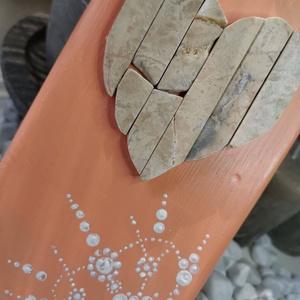 Barack beige vintage mozaik szív  kavics kép- 3D falikép dekoráció természetes kő kép (Hamupupocska) - Meska.hu