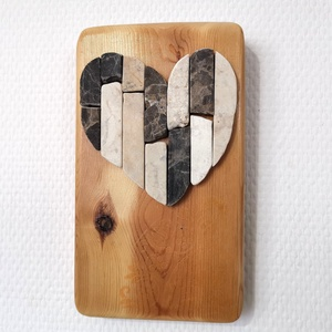 Szívecske Mozaik falikép kő szív kép csipke mandala díszítéssel - 3D falikép dekoráció természetes kőkép - otthon & lakás - dekoráció - mandala - Meska.hu
