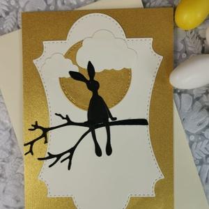 Prémium képeslap - Arany - vajszínű hátteres nyuszi  : HMB2103_08, Otthon & Lakás, Papír írószer, Képeslap & Levélpapír, Papírművészet, Meska