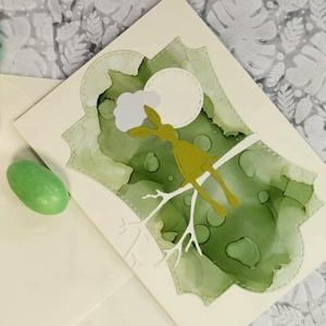 Prémium képeslap - Egyedi festett hátteres nyuszi  : HMB2103_09, Otthon & Lakás, Papír írószer, Képeslap & Levélpapír, Standard méretű kinyítható üdvözlőlap  16 x 11cm-es hozzáíllő síznes borítékkal. Használható mint ké..., Meska