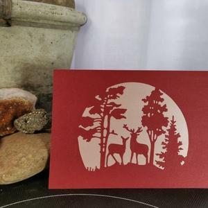 Szarvas - metál bordó púder képeslap, üdvözlőlap, ajándékkísérő : HMB2103_41, Otthon & Lakás, Papír írószer, Képeslap & Levélpapír, Papírművészet, Meska