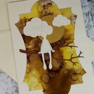 Prémium képeslap - Egyedi festett hátteres nyuszi : HMB2103_46, Otthon & Lakás, Papír írószer, Képeslap & Levélpapír, Papírművészet, Meska