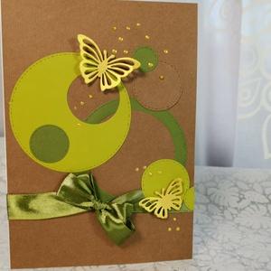 Elegáns nagyméretű zöld masnis pillangós képeslap névnapra, anyák napjára, szülinapra : HMB2103_48, Otthon & Lakás, Papír írószer, Képeslap & Levélpapír, Nagy méretű kinyítható üdvözlőlap  kb 23 x 16 cm-es hozzáíllő síznes borítékkal. Használható mint ké..., Meska