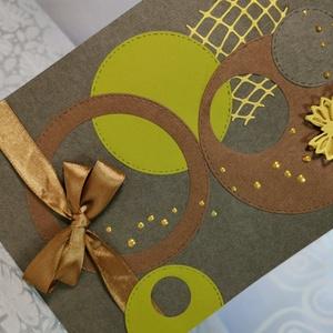 Elegáns nagyméretű barna masnis pillangós képeslap névnapra, anyák napjára, szülinapra : HMB2103_49, Otthon & Lakás, Papír írószer, Képeslap & Levélpapír, Nagy méretű kinyítható üdvözlőlap  kb 23 x 16 cm-es hozzáíllő síznes borítékkal. Használható mint ké..., Meska