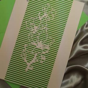 Elegáns nagyméretű zöld csíkos strasszos virág képeslap névnapra, anyák napjára, szülinapra : HMB2103_51, Otthon & Lakás, Papír írószer, Képeslap & Levélpapír, Nagy méretű kinyítható üdvözlőlap  kb 23 x 16 cm-es hozzáíllő síznes borítékkal. Használható mint ké..., Meska