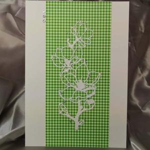 Elegáns nagyméretű zöld kockás strasszos virág képeslap névnapra, anyák napjára, szülinapra : HMB2103_52, Otthon & Lakás, Papír írószer, Képeslap & Levélpapír, Nagy méretű kinyítható üdvözlőlap  kb 23 x 16 cm-es hozzáíllő síznes borítékkal. Használható mint ké..., Meska