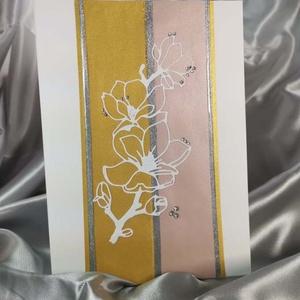 Elegáns nagyméretű csillámos strasszos virág képeslap névnapra, anyák napjára, szülinapra : HMB2103_56, Otthon & Lakás, Papír írószer, Képeslap & Levélpapír, Nagy méretű kinyítható üdvözlőlap  kb 23 x 16 cm-es hozzáíllő síznes borítékkal. Használható mint ké..., Meska
