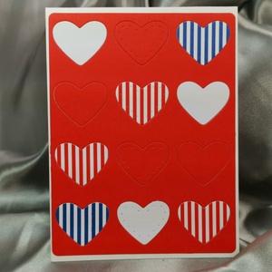 Egy tucat szív  - csíkospiros fehér kék képeslap, üdvözlőlap, ajándékkísérő : HMB2103_60, Otthon & Lakás, Papír írószer, Képeslap & Levélpapír, Standard méretű kinyítható üdvözlőlap  16 x 11cm-es hozzáíllő síznes borítékkal. Használható mint ké..., Meska