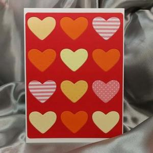 Egy tucat szív  - piros képeslap, üdvözlőlap, ajándékkísérő : HMB2103_61, Otthon & Lakás, Papír írószer, Képeslap & Levélpapír, Standard méretű kinyítható üdvözlőlap  16 x 11cm-es hozzáíllő síznes borítékkal. Használható mint ké..., Meska