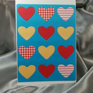 Egy tucat szív  - kék piros képeslap, üdvözlőlap, ajándékkísérő : HMB2103_65, Otthon & Lakás, Papír írószer, Képeslap & Levélpapír, Standard méretű kinyítható üdvözlőlap  16 x 11 cm-es hozzáíllő színes borítékkal. Használható mint k..., Meska
