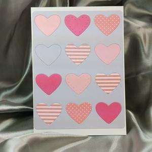 Egy tucat szív  - rózsaszín lila képeslap, üdvözlőlap, ajándékkísérő : HMB2103_66, Otthon & Lakás, Papír írószer, Képeslap & Levélpapír, Standard méretű kinyítható üdvözlőlap  16 x 11 cm-es hozzáíllő színes borítékkal. Használható mint k..., Meska