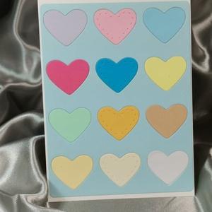 Egy tucat szív  - babakék színes képeslap, üdvözlőlap, ajándékkísérő : HMB2103_70, Otthon & Lakás, Papír írószer, Képeslap & Levélpapír, Standard méretű kinyítható üdvözlőlap  16 x 11 cm-es hozzáíllő színes borítékkal. Használható mint k..., Meska