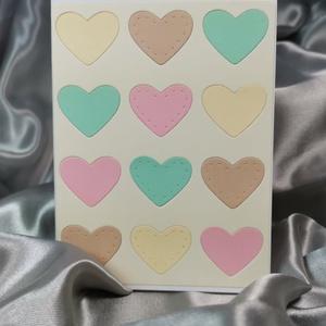 Egy tucat szív  - pasztell sárga képeslap, üdvözlőlap, ajándékkísérő : HMB2103_78, Otthon & Lakás, Papír írószer, Képeslap & Levélpapír, Papírművészet, Meska