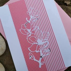 Elegáns nagyméretű rózsaszín strasszos virág képeslap névnapra, anyák napjára, szülinapra : HMB2103_91, Otthon & Lakás, Papír írószer, Képeslap & Levélpapír, Papírművészet, Meska
