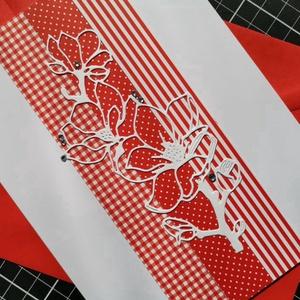 Elegáns nagyméretű piros strasszos virág képeslap névnapra, anyák napjára, szülinapra : HMB2103_92, Otthon & Lakás, Papír írószer, Képeslap & Levélpapír, Papírművészet, Meska