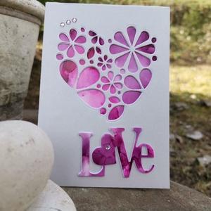 Virágzó szív - Love - lila magenta kézzel festett hátteres képeslap, üdvözlőlap, ajándékkísérő : HMB2103_98 - Meska.hu