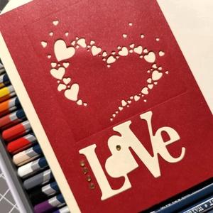 Virágzó szív - Love - vanília bordó képeslap, üdvözlőlap, ajándékkísérő : HMB2103_106 - Meska.hu