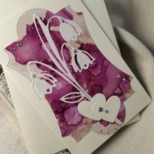 Egyedi festett hátteres strasszos virág képeslap névnapra, anyák napjára, szülinapra : HMB2104_003, Otthon & Lakás, Papír írószer, Képeslap & Levélpapír, Papírművészet, Meska