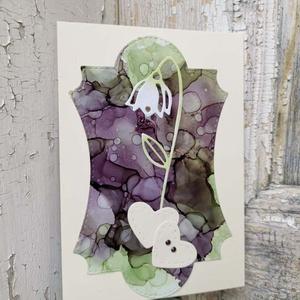 Egyedi festett hátteres strasszos virág képeslap névnapra, anyák napjára, szülinapra : HMB2104_004, Otthon & Lakás, Papír írószer, Képeslap & Levélpapír, Papírművészet, Meska
