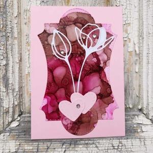 Egyedi festett hátteres strasszos virág képeslap névnapra, anyák napjára, szülinapra : HMB2104_010 - Meska.hu