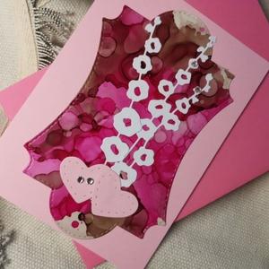 Egyedi festett hátteres strasszos virág képeslap névnapra, anyák napjára, szülinapra : HMB2104_011 - Meska.hu