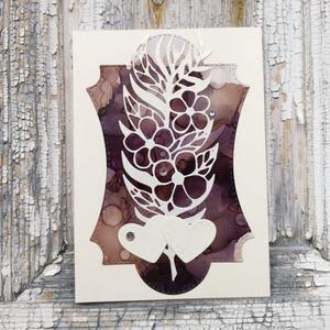 Egyedi festett hátteres strasszos virág képeslap névnapra, anyák napjára, szülinapra : HMB2104_012 - Meska.hu