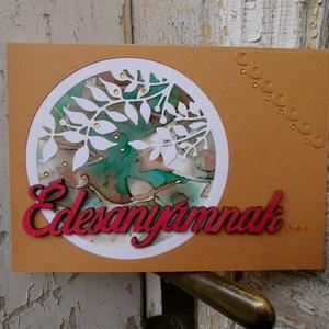 Anyák Napjára egyedi festett hátteres strasszos romantikus képeslap - Édesanyának : HMB2104_034, Otthon & Lakás, Papír írószer, Képeslap & Levélpapír, Papírművészet, Meska