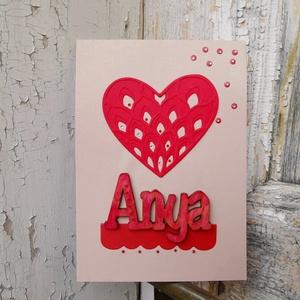 Anyák Napja csipke szíves strasszos elegáns képeslap - Anyának : HMB2104_047, Otthon & Lakás, Papír írószer, Képeslap & Levélpapír, Papírművészet, Meska