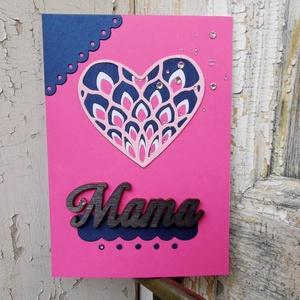 Anyák Napja csipke szíves strasszos elegáns képeslap - Mamának : HMB2104_054, Otthon & Lakás, Papír írószer, Képeslap & Levélpapír, Papírművészet, Meska