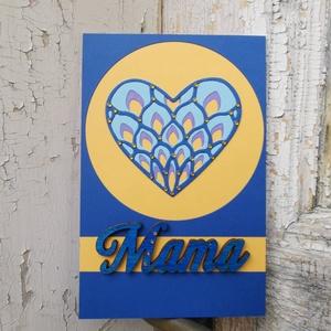 Anyák Napja csipke szíves strasszos elegáns kék barack képeslap - Mamának : HMB2104_056, Otthon & Lakás, Papír írószer, Képeslap & Levélpapír, Papírművészet, Standard méretű kinyítható üdvözlőlap  16 x 11cm-es hozzáíllő síznes borítékkal. Használható mint k..., Meska