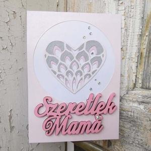 Anyák Napja csipke szíves strasszos elegáns púder ezüst képeslap - Mamának : HMB2104_059 - Meska.hu