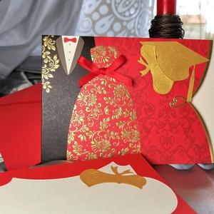 Prémium díszes elegáns fényképátadó mappa, meghívó, piros üzenőkártyával : HMB2104_069, Otthon & Lakás, Papír írószer, Képeslap & Levélpapír, Papírművészet, Meska