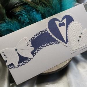 Prémium fehér kék gyöngyházfényes díszes esküvői jótartású, zárható pénzátadó boríték : HMB2104_070, Otthon & Lakás, Papír írószer, Képeslap & Levélpapír, Papírművészet, Pénzátadó boríték - szilikonos leragasztható csíkkal, így teljesen biztonságos\n\nMérete: kb. 22 x11 c..., Meska