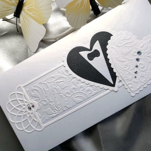 Prémium fehér fekete gyöngyházfényes díszes esküvői jótartású, zárható pénzátadó boríték : HMB2104_079, Esküvő, Emlék & Ajándék, Nászajándék, Pénzátadó boríték - szilikonos leragasztható csíkkal, így teljesen biztonságos.  Mérete: kb. 22 x11 ..., Meska