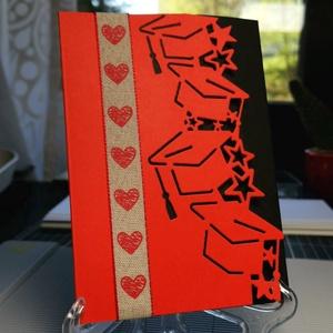 Ballagási piros-fekete elegáns pénzátadó, fényképátadó, emlék vagy meghívó mappa üdvözlő : HMB2104_082, Otthon & Lakás, Papír írószer, Képeslap & Levélpapír, Papírművészet, Meska