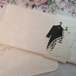 Elegáns dombor csipkemintás stílusos esküvői pénzátadó boríték  - üzenőkártyával : HMB2106_56, Esküvő, Emlék & Ajándék, Nászajándék, Mérete:  21 x10.5 cm  Pénzajándékodat, vagy az ajándékkísérő üzeneted helyezheted el ebbe a minőségi..., Meska